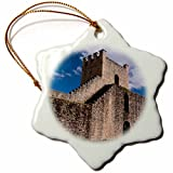 3dRose Danita Delimont - Spain - Spain, Andalusia, The historic roman stone wall at the edge of Ronda. - 3 inch Snowflake Porcelain Ornament (orn_277900_1)
