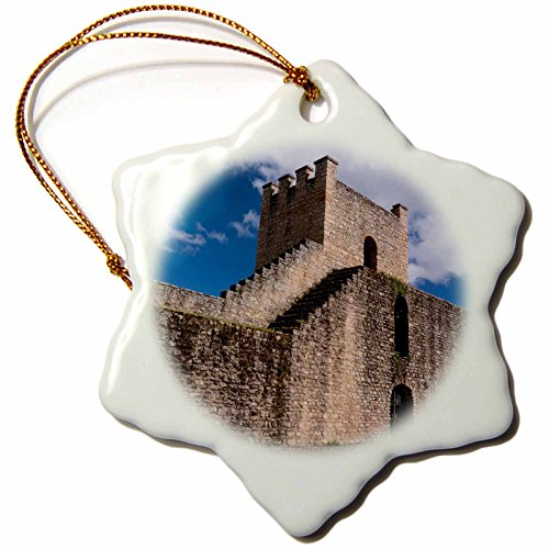 3dRose Danita Delimont - Spain - Spain, Andalusia, The historic roman stone wall at the edge of Ronda. - 3 inch Snowflake Porcelain Ornament (orn_277900_1) by 3dRose
