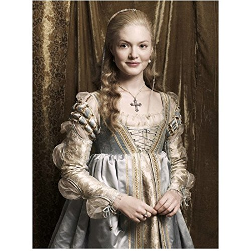 The Borgias (TV Series 2011 - 2013) 8 inch by 10 inch PHOTOGRAPH Holliday Grainger Smiling in Grey & White Dress Brown Curtain Behind Her kn