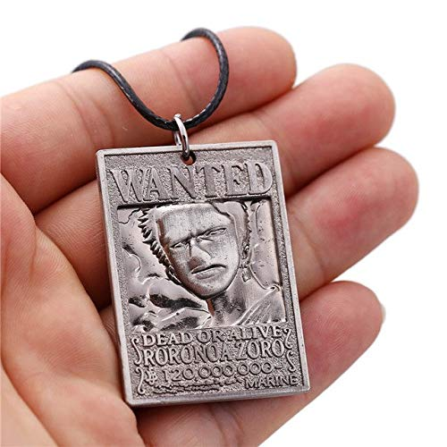 (Value-Smart-Toys - 12pcs/lot HF11441 animeJewelry One Piece Dog Tag Military Card Pendant 3D Roronoa Zoro Wanted Necklace pendant rope necklace )