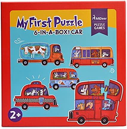 Mideer 6-in-A-Box Puzzle Games Jigsaw Educational Card My First Puzzle Toys for Children Kids Gift Boy Play Match Sort - Edu Toys (Vehicles)