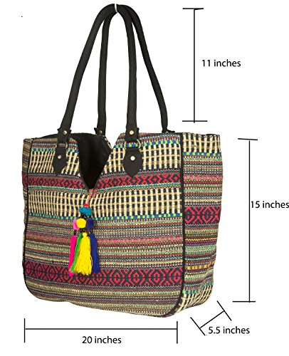 TribeAzure Large Women Shoulder Bag Tote Aztec Handbag Tassel School Everyday Beach Picnic Grocery Laptop Photo #7