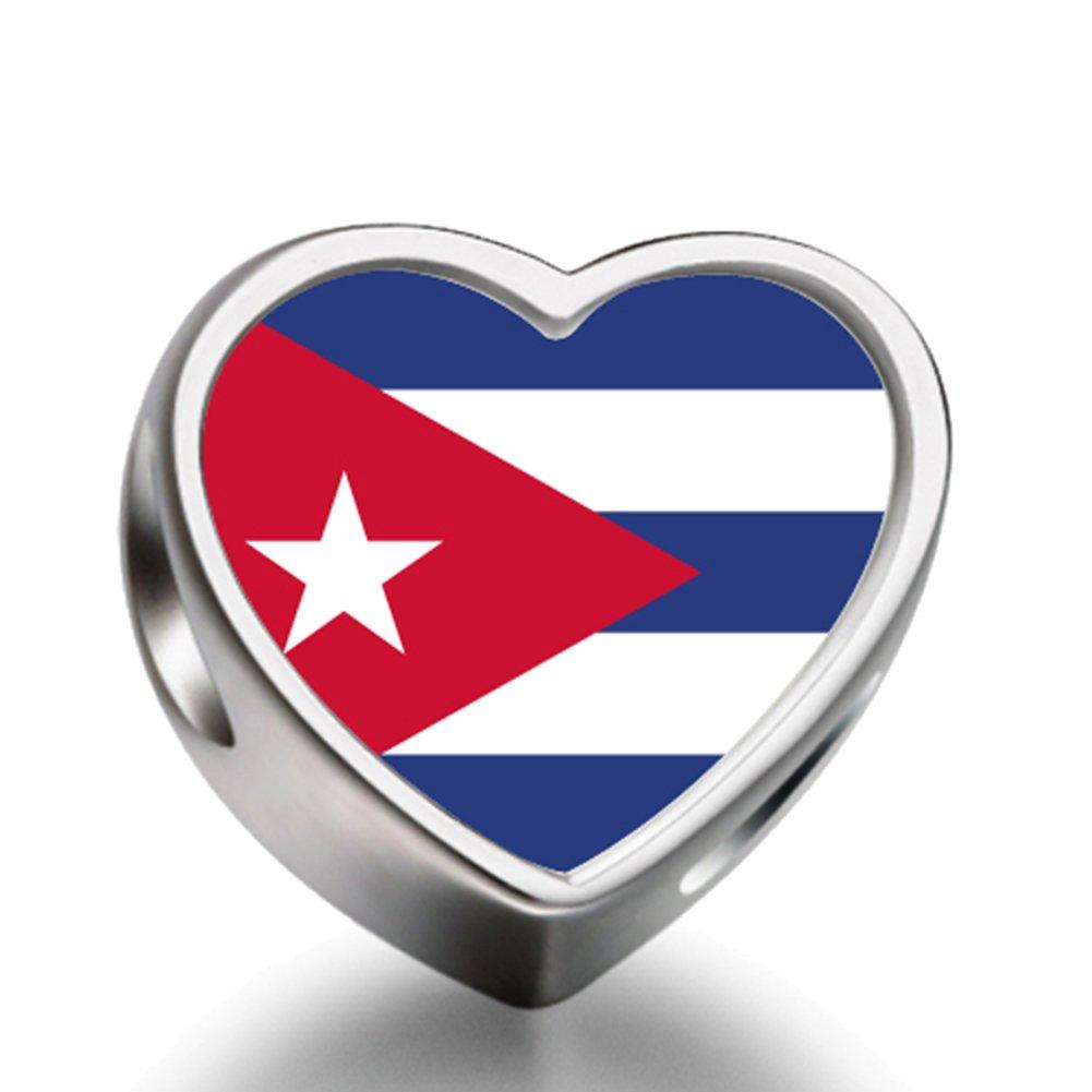 J.Charm Cuba flag Heart Photo Charms Beads bead DIY by J.Charm   B00MB14XI6