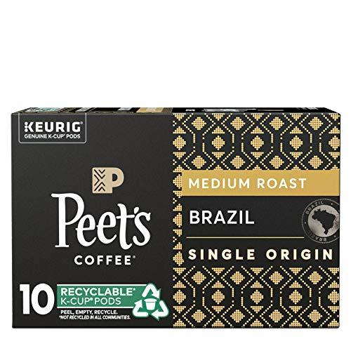 Peet's Coffee Brazil Minas Naturais K-Cup Coffee Pods for Keurig Brewers, Medium Roast, 10 Pods