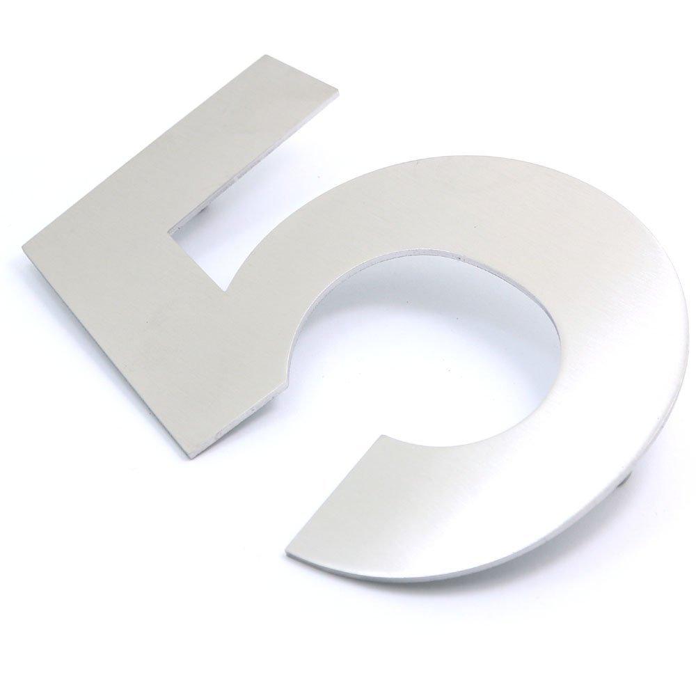 15/cm de haut Num/éro 5 Plaque avec num/éro de rue /à fixer au mur 10,8/cm de large Kit dinstallation inclus Plaque num/érot/ée Nuzamas En acier inoxydable Pour h/ôtel ou maison