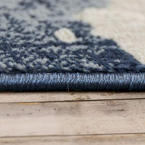 Area Rug Used Look Vintage Denim Modern