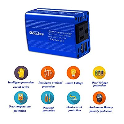 Bapdas 150W Car Power Inverter DC 12V to 110V AC Car Converter with 3.1A Dual USB Car Adapter-Blue