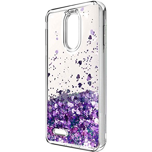 LG Aristo 2 Case, LG K8 2018 Case, LG Tribute Dynasty Case,X210 case, LV3 2018 Case, Skmy Liquid Glitter Sparkle Girl Women Cute Clear TPU+Shockproof Hard PC Protective Case for LG Aristo 2 (Purple)
