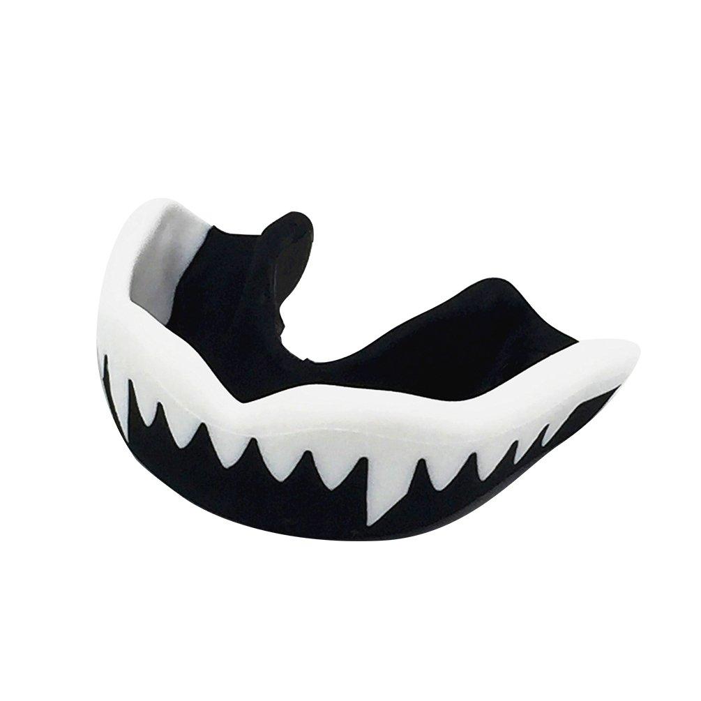 Runacc Sport Mundschutz weich, ergonomisch, Zahnschutz für Basketball, Karate, Muay und Fußball, schwarz und weiß Muay und Fußball schwarz und weiß weiß