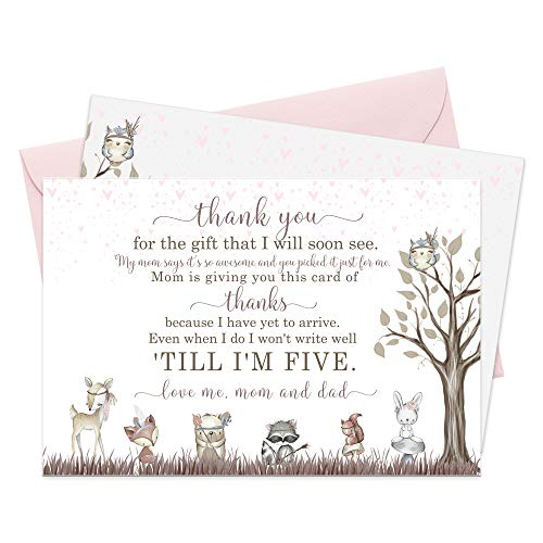 Woodland Friends Baby Shower Thank You Cards Set with Envelopes (15 Pack) Forest Animals Floral