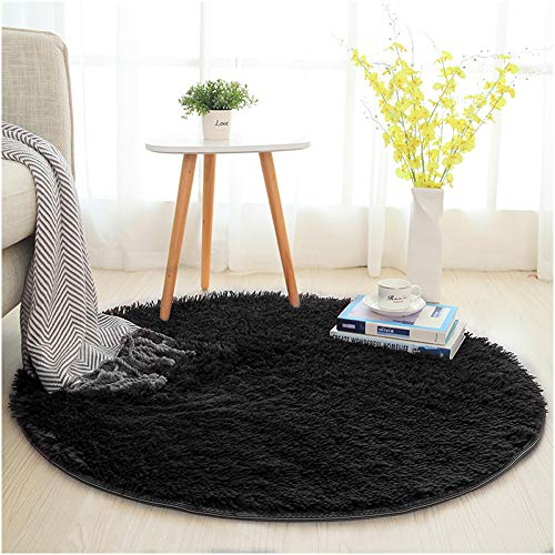 SANMU Soft Round Rug,Fluffy Silky Carpet Fashion Color Smooth Bedroom Mats Round Shag Floor Pad for Girls Bedroom Decorate and Indoor Use,4 Feet,Black by Softlife (Image #8)