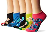 Disney Women's Lilo & Stitch 5 Pack No Show, Assorted Bright, Fits Sock Size 9-11; Fits Shoe Size 4-10.5
