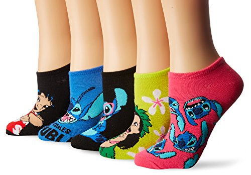 Disney Women's Lilo & Stitch 5 Pack No Show, Assorted Bright, Fits Sock Size 9-11 Fits Shoe Size 4-10.5 from Disney