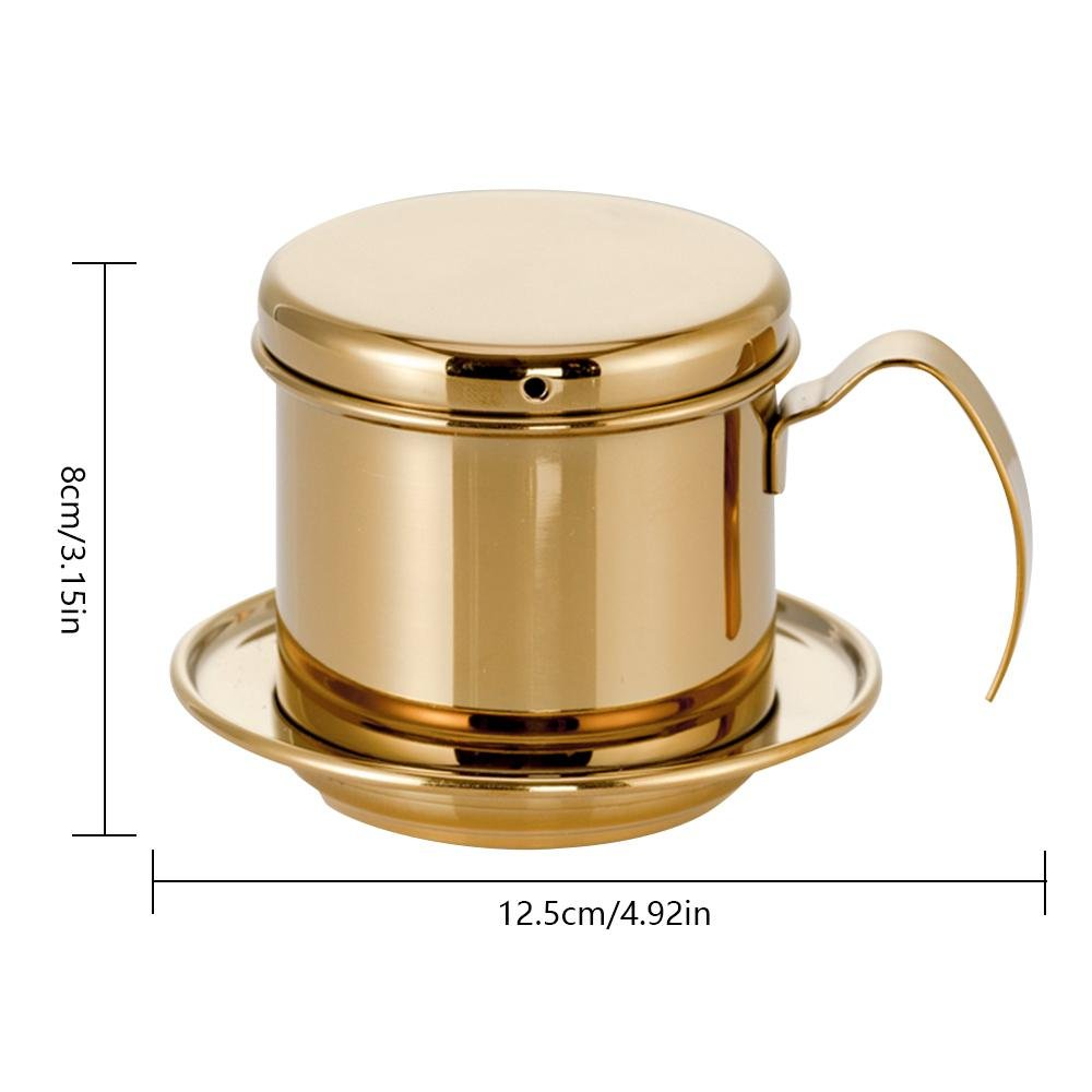 Leegoal Coffee Maker Pot, Stainless Steel Vietnamese Coffee Maker with Coffee Drip Filter for Home Kitchen Office Outdoor Use - Best Gift Choice for Baristas and Coffee Lovers(Gold)
