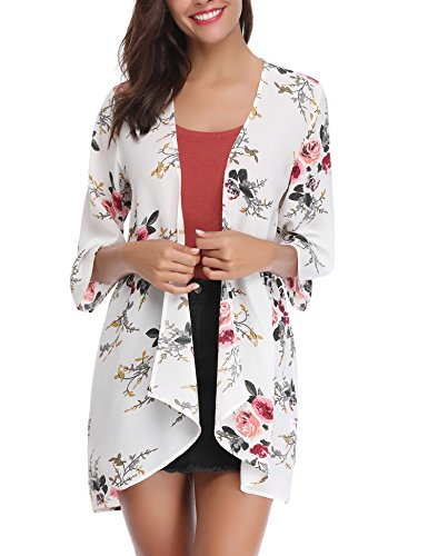 Abollria Women 3/4 Sleeve Floral Chiffon Casual Loose Kimono Cardigan Capes - Dress Wedding Chiffon Informal