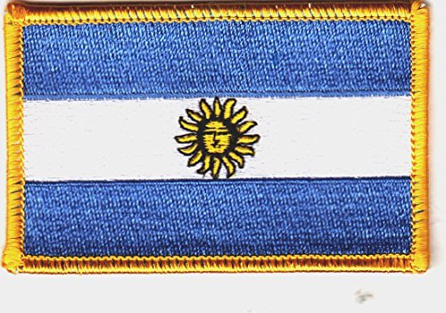 ARGENTINA FLAG w/GOLD BORDER/Iron On Patch Applique/Filipino, National ()