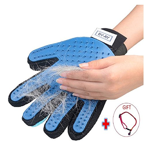 Pet Grooming Glove Massage Tool with Enhanced Five Finger Design - Pet Hair Remover Glove for Dog - Grooming Gloves Brush - Perfect for Dogs and Cats with Long Short (Long Fur)