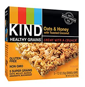 KIND Healthy Grains Granola Bars, Oats and Honey with Toasted Coconut, Gluten Free, 1.2 oz Bars, 5 Count