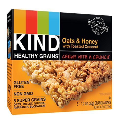 KIND Healthy Grains Bars, Oats & Honey with Toasted Coconut, Non GMO, Gluten Free, 1.2 oz, 5 Count (6 Pack)