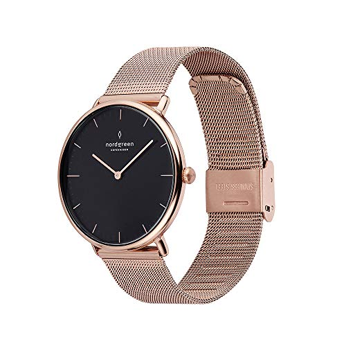 Nordgreen Native Scandinavian Rose Gold Unisex Analog Watch with Black Dial and...