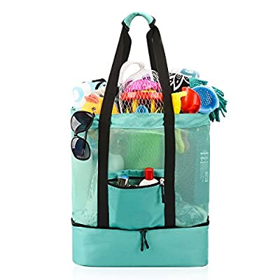 Mesh Beach Bag , Ricdecor Toy Tote Bag Stay Away from Sand for the Beach with Zipper Top and Insulated Picnic Cooler