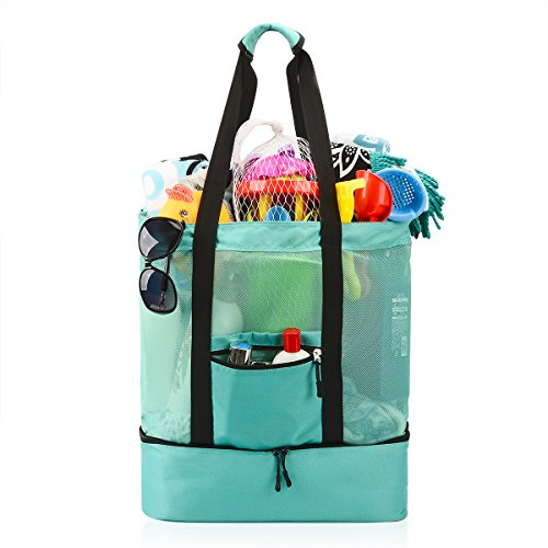 Beach Picnic Tote Bag - Mesh Beach Bag , Ricdecor Toy Tote Bag Stay Away from Sand for the Beach with Zipper Top and Insulated Picnic Cooler (Lake Blue_Re)