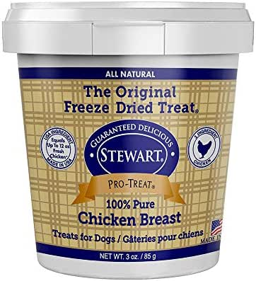 Stewart Pro-Treat, Freeze Dried Chicken Breast Dog Treats, Single Ingredient, Grain Free, USA Made, 3 oz. Resealable Tub