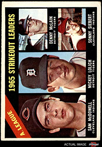 1966 Topps # 226 AL Strikeout Leaders Mickey Lolich/Sam McDowell/Denny McLain/Sonny Siebert Tigers/Indians (Baseball Card) Dean's Cards 4 - VG/EX Tigers/Indians