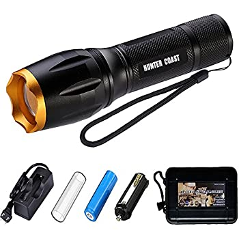 HUNTER COAST Tactical Led Flashlight Portable Bright Handheld Zoomable Torch Flashlights with 5 Modes and Rechargeable Battery (Gold)
