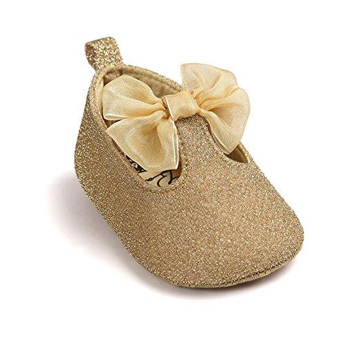 Pueri Blinblin Dorado Sandalia del bebé para los primeros pasos Zapatillas agradables adornado con lazo Forma de elástico dorado