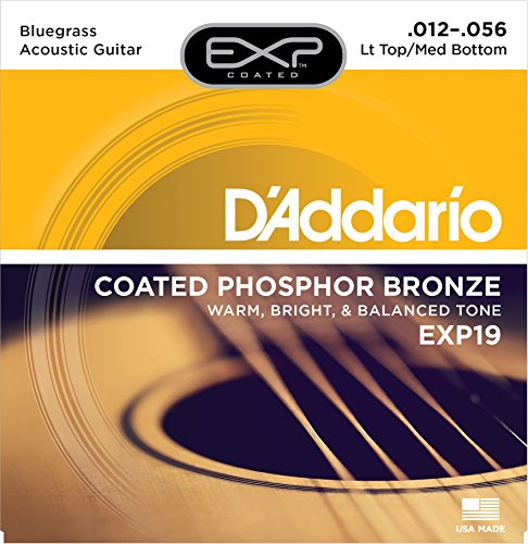 D'Addario EXP19x3 (3 sets), EXP Coated, Phos/Brnz, Acous Guit Strings, Bluegrass (Exp Phos)