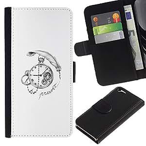 LECELL--Cuero de la tarjeta la carpeta del tirón Smartphone Slots Protección Holder For Apple Iphone 6 -- Pluma Time Clock --