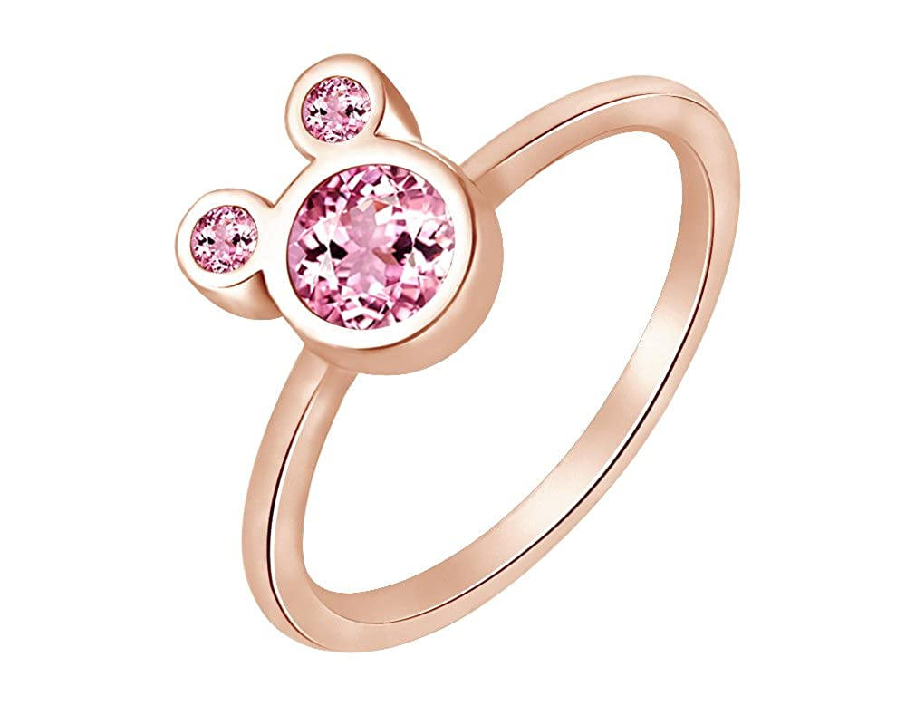 Wishrocks 925 Sterling Silver Simulated Tourmaline Mickey Mouse Ring Party Jewelry for Women /& Girl