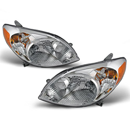 Toyota Matrix JDM Chrome Bezel OE Replacement Headlights Driver/Passenger Amber Head Lamps Pair (Headlight Toyota Headlight Matrix)