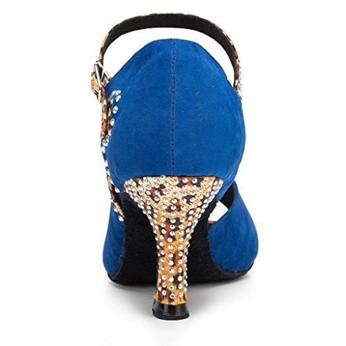 Miyoopark Femmes Peep Toe Satin Chaussures De Danse Sandales De Mariage Bleu