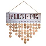Joy-Leo Gifts for Moms Dads - Wooden Perpetual Birthday Reminder Calendar Board Wall Hanging [100 Wood Slices/Sky Grey ], for Family & Friends & Classroom