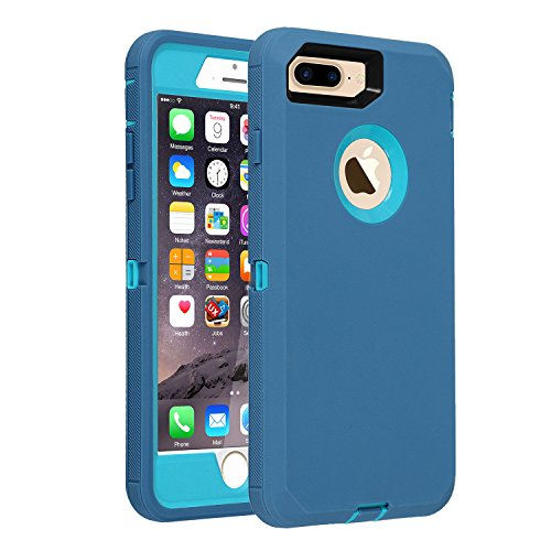 iPhone 7+/8+ Case, [Heavy Duty] Defender Armor 3 in 1 Built-in Screen Protector Rugged Cover Dust-Proof Shockproof Drop-Proof Scratch-Resistant Shell for Apple iPhone 7 Plus 8 Plus 5.5 inch - Blue