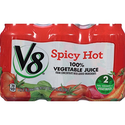 V8  Original Spicy Hot 100% Vegetable Juice 11.5 oz. Can (4 Packs of 6, Total of 24)