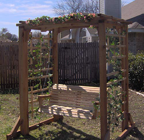 THREE MAN Cedar Deluxe Garden Arbor with 5 Foot Swing - Stained