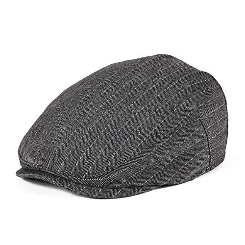 - JANGOUL Kids Flat Cap Boy Girl Newsboy Caps Infant Toddler Child Youth Beret Hat Ivy Gatsby Cap (54cm, Grey Stripe)