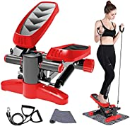 Papepipo Portable Stair Stepper for Exercise - Mini Fitness Equipment with Resistance Bands and LCD Monitor