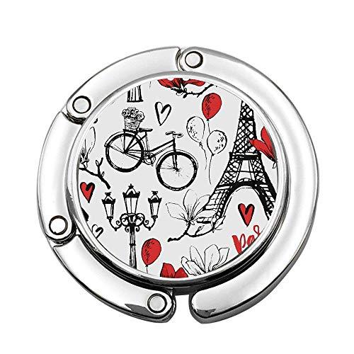 Jackie Prout ss City Paris Symbols Romantic Travel in Magnolia Blossom Eiffel Custom Foldable Handbag Bag Purse Hanger Hook Holder