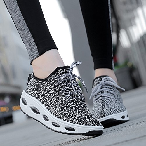 KUIBU White On Athletic Fly Slip Black Sport Weave Heel Shoes Women Platform Lightweight High Sneaker Breathable fCqrAfw