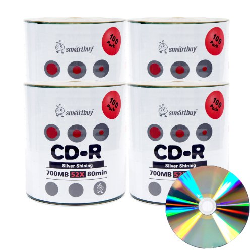 Smart Buy Shiny Silver Top CD-R 400 Pack 700mb 52x Blank Recordable Discs, 400 Disc, 400pk by Smart Buy