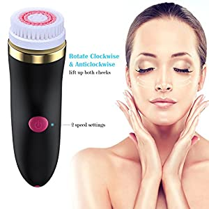 Electric Facial Brush, GLAMFIELDS 3 in 1 Waterproof Skin Cleanser Face Scrubber Exfoliator , USB Rechargeable Facial Care Pore Cleaning Beauty Face Washing Massager with 3 Brush Heads … (Black)