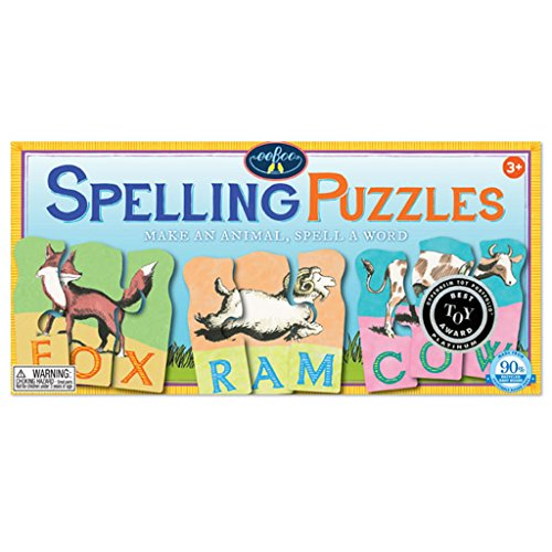 eeBoo Animal Spelling Puzzles, 10 puzzles, 3 pieces each