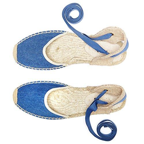 Femme Chaussures Plat Bleu Talon Beau Sandales rismart Slingback awqYEd