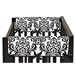 Sweet-Jojo-Designs-2-Piece-Side-Rail-Guards-Teething-Protector-Baby-Girl-Crib-Cover-Wrap-for-Hot-Pink-Black-and-White-Isabella-Collection