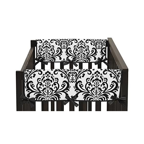 Sweet Jojo Designs 2-Piece Side Rail Guards Teething Protector Baby Girl Crib Cover Wrap for Hot Pink, Black and White Isabella Collection
