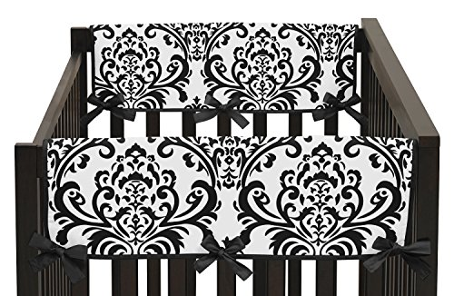 Sweet Jojo Designs 2-Piece Side Rail Guards Teething Protector Baby Girl Crib Cover Wrap for Black and White Isabella Collection